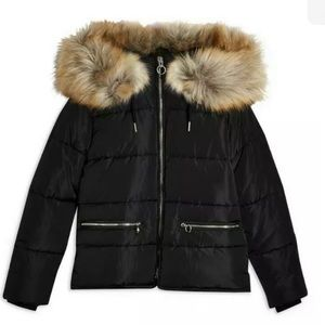 NWT Topshop US Size 6 Black Insulated Puffer Coat